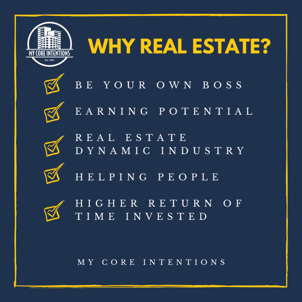 WHY CHOOSE REAL ESTATE? be your Own boss Earning potential real estate dynamic industry Helping people higher return of time invested