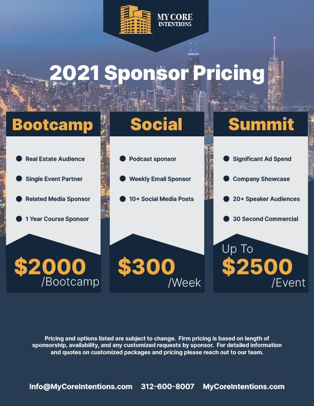 2021 Sponsor Pricing